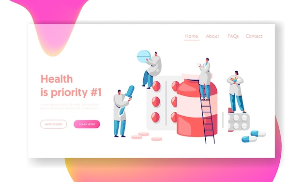 Pharmacy business medicine drug store landing page. pharmacist care for patient. pharmaceutical science. online drugstore infographic background website or web page. flat cartoon vector illustration