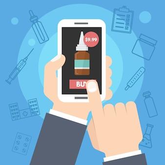약국은 온라인 약, 인터넷 건강 서비스를 구매합니다. 스마트 폰을 손에 들고하는 남자. 삽화.
