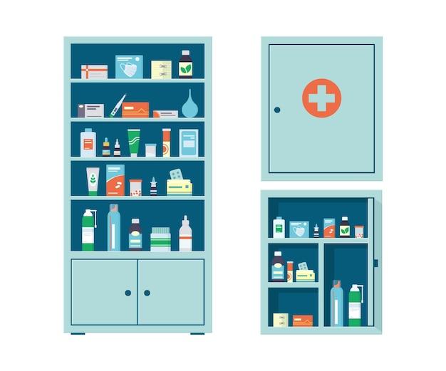 薬局のキャビネットと薬の壁の胸には、薬、錠剤、ボトルがいっぱいです。薬局の棚。金属製の開閉式医療キャビネット。