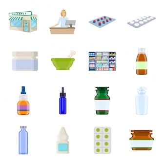 Pharmacy cartoon icon set