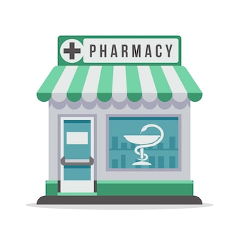 Pharmacy city building exterior front view.    illustration