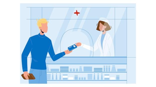 Клиент аптеки, покупающий коробку таблеток медицины