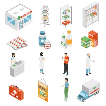 Pharmacy concept  isometric icons collection
