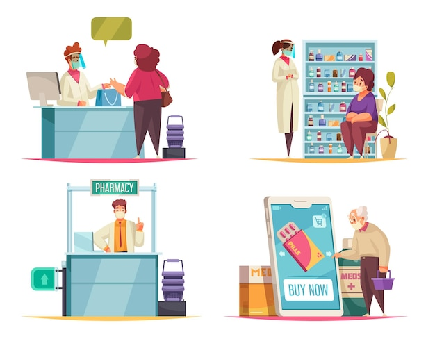 Pharmacy concept set with medicine and pills symbols flat isolated
