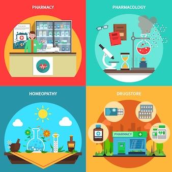Set di concetto di farmacia Vettore gratuito