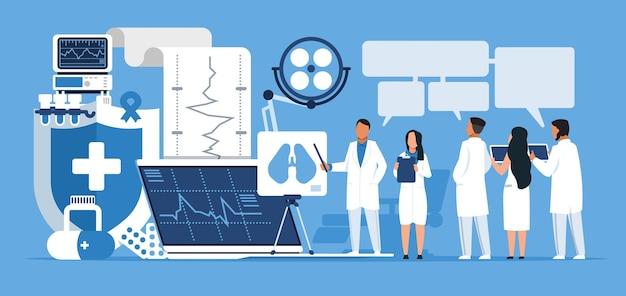 薬局のコンセプト。トレンディな漫画の抽象的なキャラクターの医師と医学教育の看護師