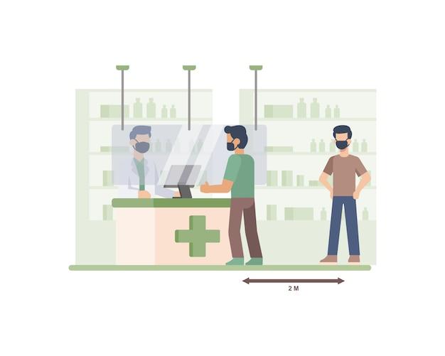 薬局のお客様は、レジのカウンターの図で待ち行列に入るときに社会的距離のプロトコルを練習しています
