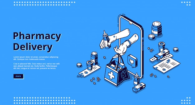 Pharmacy delivery online service isometric landing