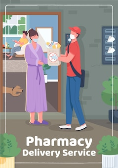 Pharmacy delivery service poster flat template