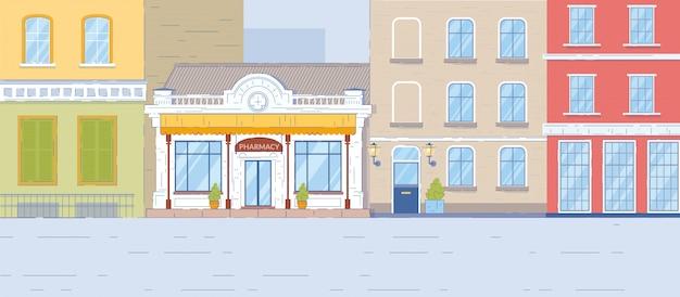 薬局ドラッグストアの建物の古い家の正面図