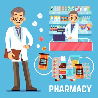 Pharmacy elements with male pharmacist, vitamins and drugs