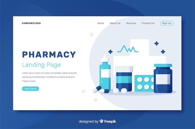 Аптека плоская и простая целевая страница
