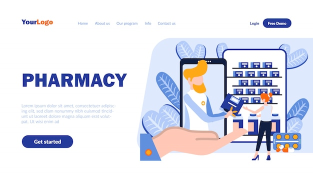 Pharmacy flat landing page template with header