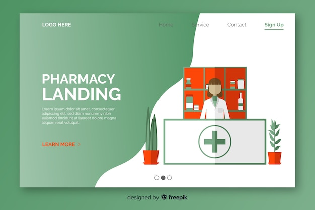 Pharmacy flat and simple landing page