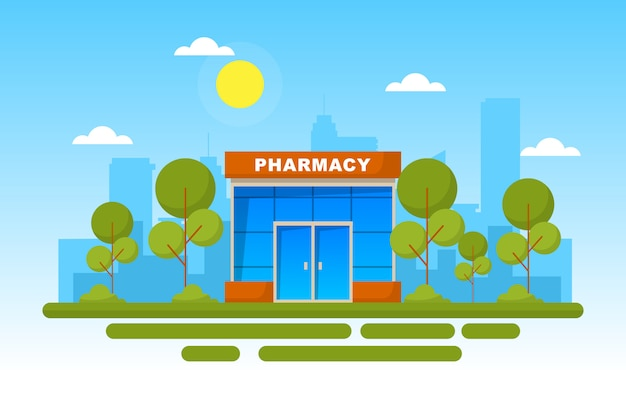 Pharmacy front store flat illustration