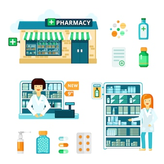 Pharmacy icon set