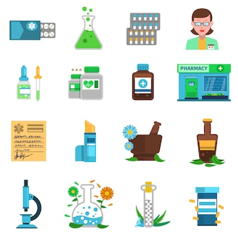 Pharmacy icons set