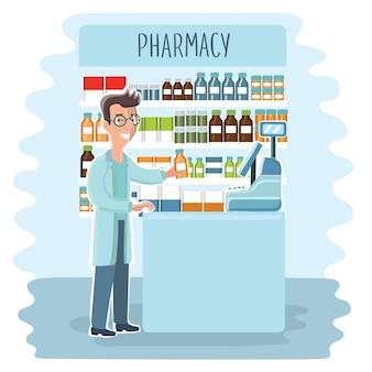 薬局のインフォグラフィック要素。女性薬剤師がショーケースで薬を披露します。薬局のアイコンを設定します。