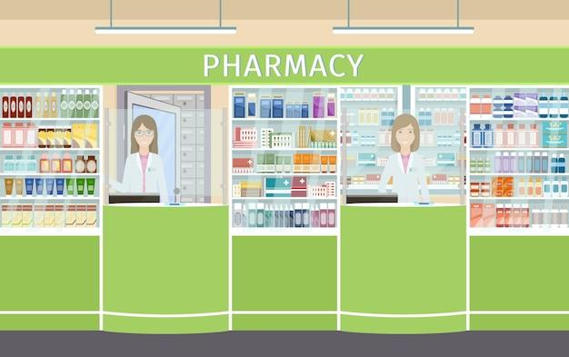카운터에 두 명의 약사 여성 캐릭터가 있는 약국 인테리어 디자인. 약품 진열장이 있는 약국