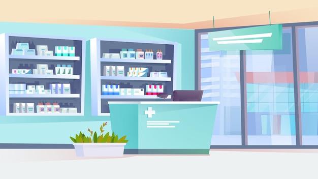 Pharmacy interior flat cartoon style illustration of web background