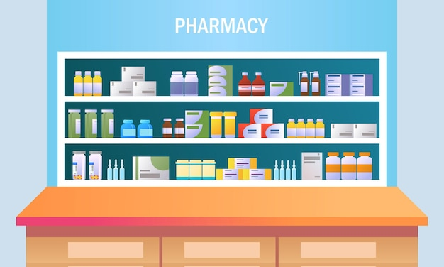 棚の図にカウンターと薬と薬局のインテリア
