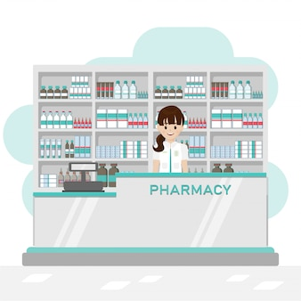 Pharmacy interior with pharmacist and cashier counter