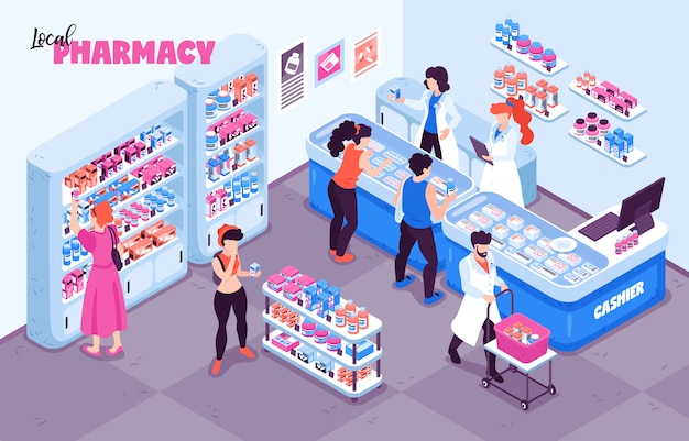 Pharmacy isometric background composition with indoor view of medicine store human characters and racks with shelves  illustration
