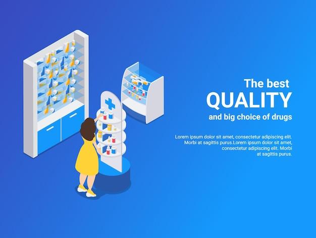 Аптека изометрическая синяя проиллюстрирована лучшим качеством и большим выбором лекарств