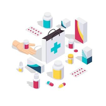 Концепция изометрического дизайна аптеки с упаковкой лекарств, витаминных таблеток, цветные изолированные значки на белом