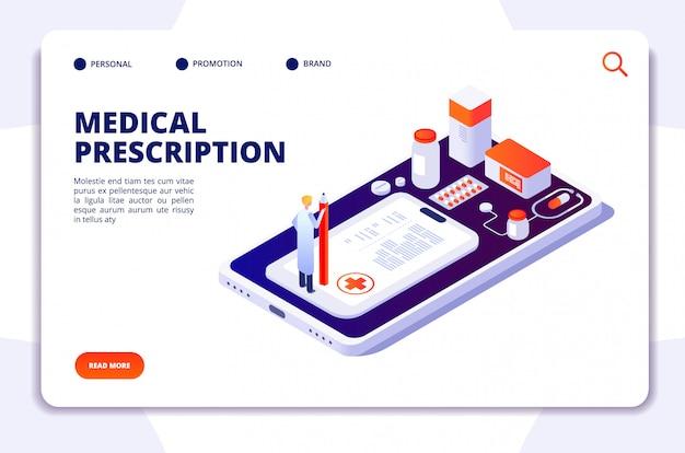 薬局等尺性ランディングページ。ドラッグストアで薬剤師と顧客が薬を購入します。医学と医療のベクトル3 dコンセプト