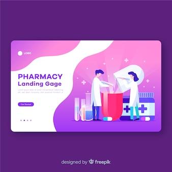 Аптека плоский дизайн целевой страницы