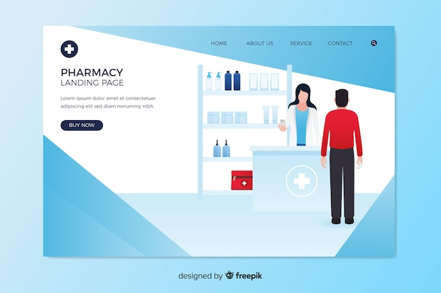 Pharmacy landing page flat design
