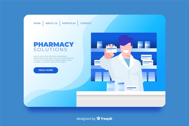 Pharmacy landing page flat style