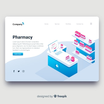 Pharmacy landing page isometric design