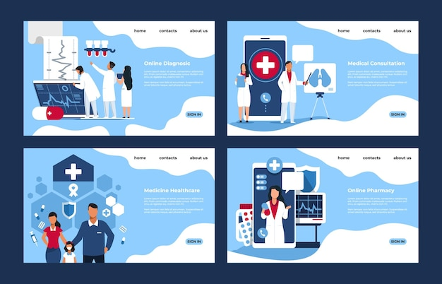 Pharmacy landing page. medical web site mockups with cartoon people characters, online pharmacy and store concept