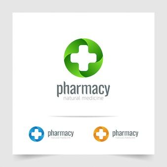 Pharmacy logo medicine cross on circle green shape