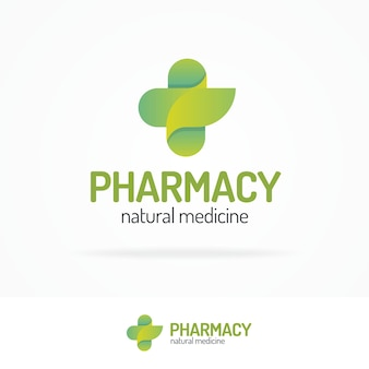 Pharmacy logo set consisting of cross and leaf green color for use herbal medical