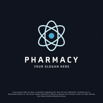 Pharmacy logo with a atom