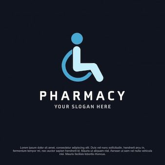 Pharmacy logo with a person in a wheelchair