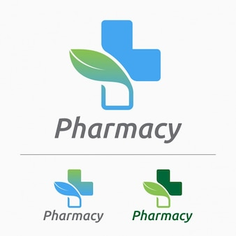 Pharmacy logos set