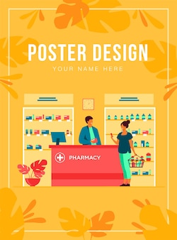 Pharmacy or medical shop concept. people buying medication in drugstore, consulting pharmacist at cash register, choosing drugs at showcase.  illustration for pharmaceuticals, healthcare topics
