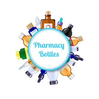 Pharmacy medicine bottles under circle with place for text illustration