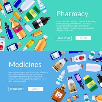 Pharmacy medicine bottles web banner templates