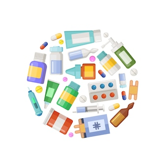 Pharmacy or medicines circle concept banner and poster