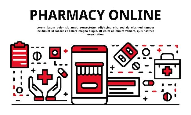 薬局オンラインバナー、アウトラインのスタイル Premiumベクター