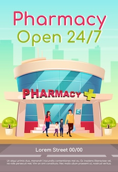 Pharmacy open 24 7 poster flat template. medicine and healthcare. medication available everyday. brochure, booklet one page concept design with cartoon characters. drugstore flyer, leaflet