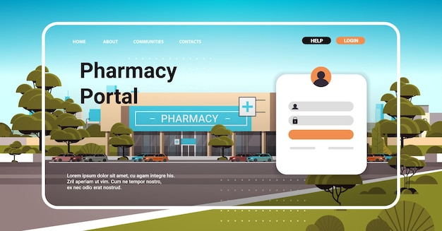 Pharmacy portal website landing page template buy medicaments and drugs online e-commerce site concept horizontal copy space vector illustration