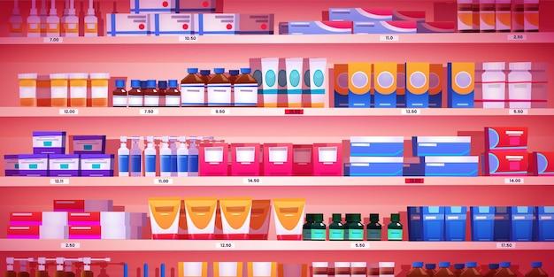 Scaffale della farmacia scaffale della farmacia con vetrina del negozio di prodotti al dettaglio di medicinali con pillole farmaceutiche