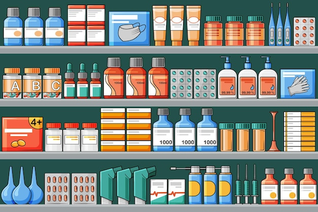 Pharmacy shelves with medical medicines