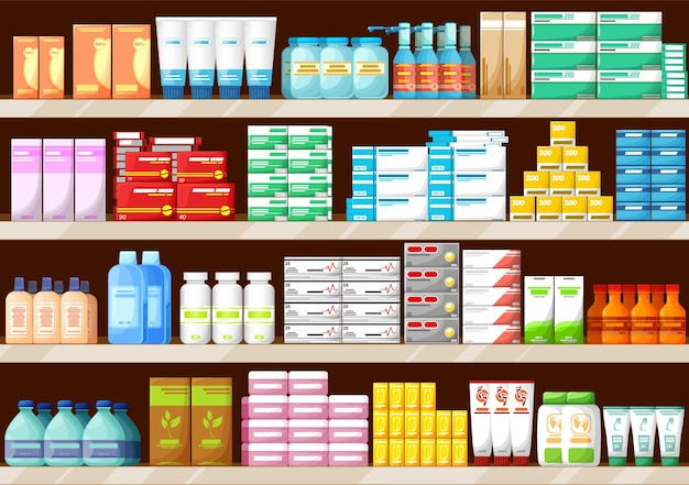 Pharmacy shelves with medications, bottles and pills, pharmaceutic store interior vector background. pharmacy drugstore shelf or pharmacist shop counter display with pills and vitamins in boxes